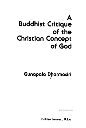A Buddhist Critique of the Christian Concept of God