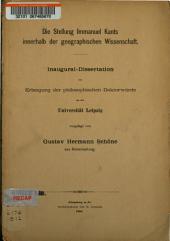 Die Stellung Immanuel Kants innerhalb der geographischen Wissenschaft