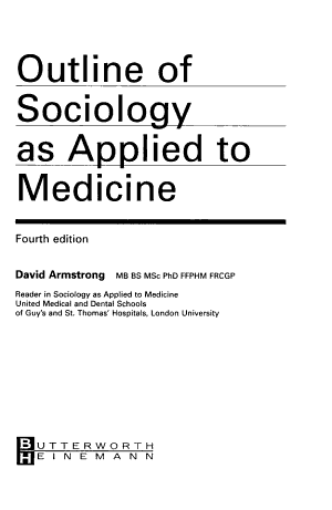 Outline of Sociology as Applied to Medicine, 4Ed