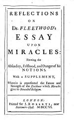 Reflections on Dr. Fleetwood's Essay Upon Miracles