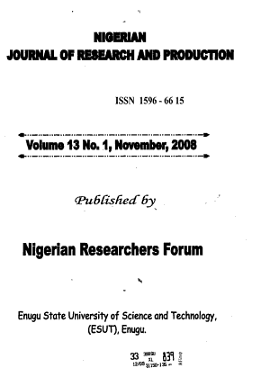 Nigerian Journal of Research and Production PDF