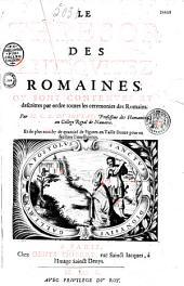 Le Trésor des antiquitez romaines, où sont contenues et descrites par ordre toutes les cérémonies des Romains