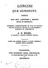 Longini quae supersunt. Graece ...: Ruhnkenii dissertationem de vita et scriptis Longini