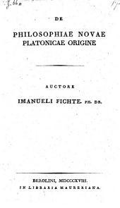 De philosophiae novae Platonicae origine