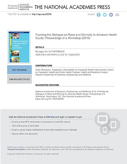 Framing the Dialogue on Race and Ethnicity to Advance Health Equity PDF