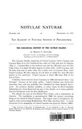 Geological History of the Cayman Islands: Notulae Naturae of The Acad. of Natural Sciences of Phila., No. 284