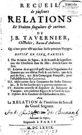 Recueil de plusieurs relations et traitez singuliers & curieux de J. B. Tavernier