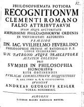 Philosophemata potiora Recognitionum, Clementi Romano falso attributarum