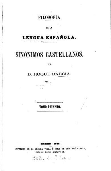 Filosofia De La Lengua Espanola Sinonimos Castellanos