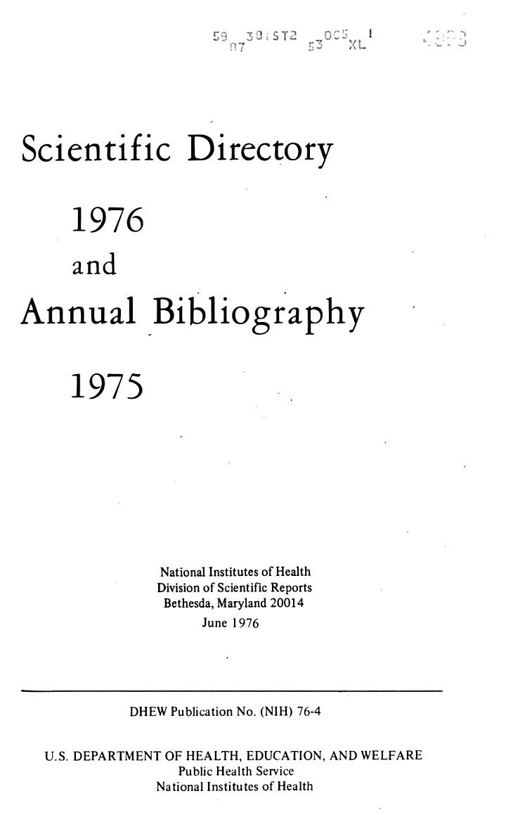 Scientific Directory and Annual Bibliography