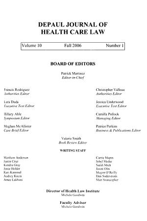 DePaul journal of health care law PDF