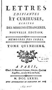 Lettres édifiantes et curieuses, écrites des Missions étrangeres: Volume 15