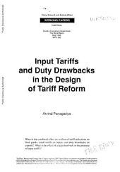 Input Tariffs and Duty Drawbacks in the Design of Tariff Reform: Volume 336