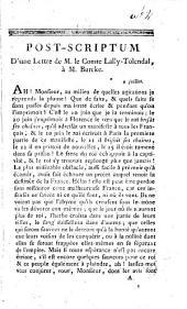 Post-scriptum d'une lettre de M. le Comte Lally-Tolendal, à M. Burcke