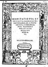 """Meditatio pia et erudita super psalmos: """"miserere mei"""" et: """"in te, domine, speravi"""". (ed. Martino Luthero.)"""