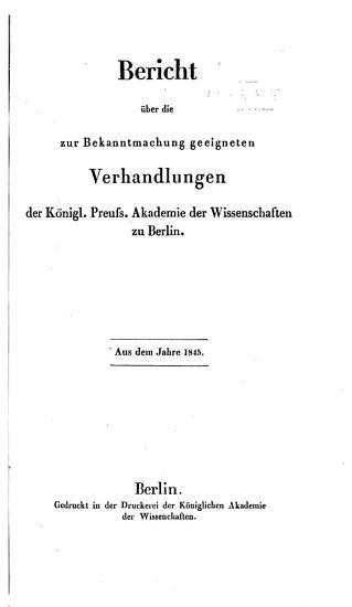 Bericht   ber die zur Bekanntmachung geeigneten Verhandlungen der K  nigl  Preuss  Akademie der Wissenschaften zu Berlin PDF