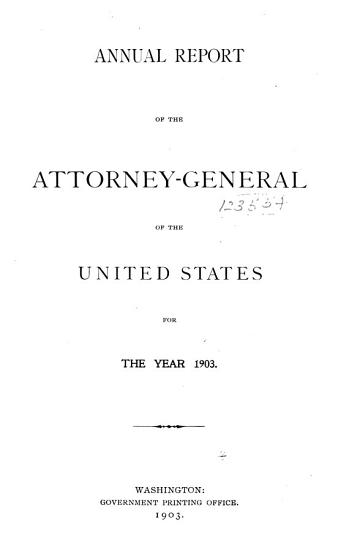 Annual Report of the Attorney General of the United States PDF
