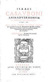 Isaaci Casavboni Animadversionvm In Athenaei Dipnosophistas Libri XV.