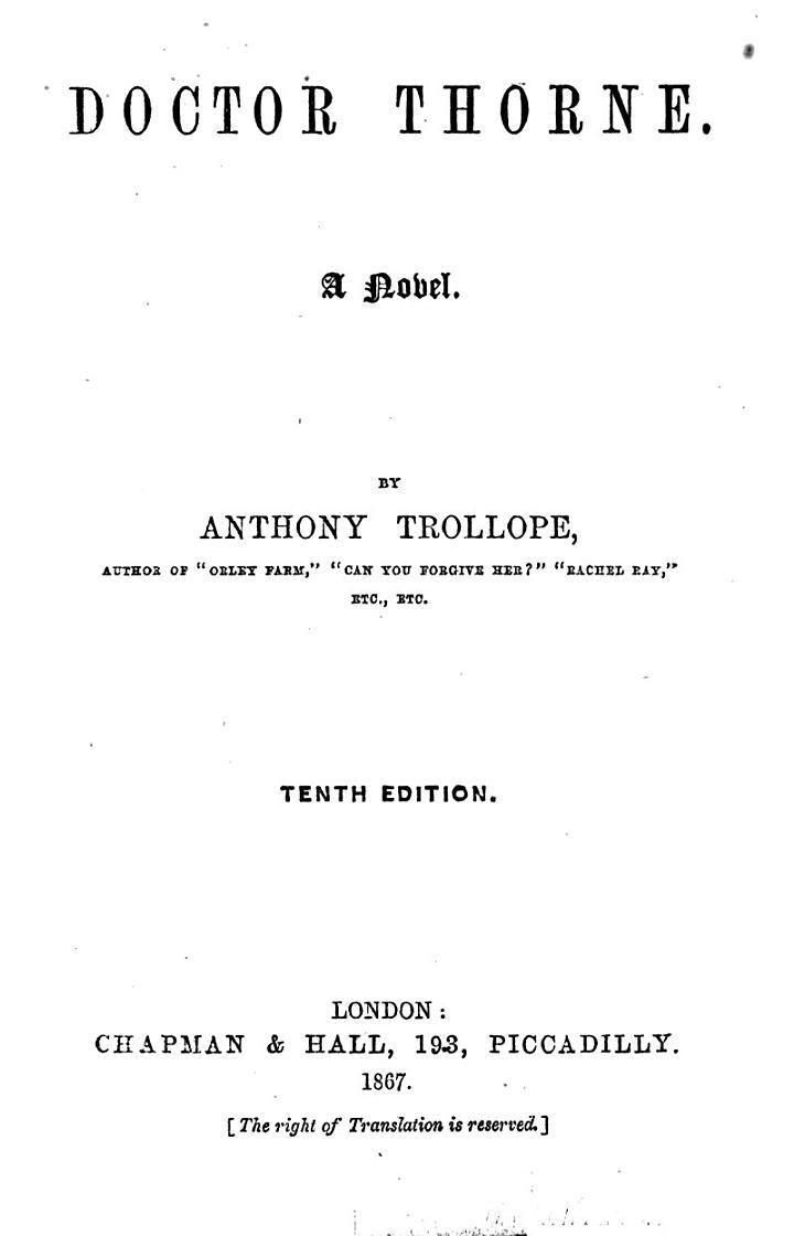 Doctor Thorne. A Novel. 10th Ed