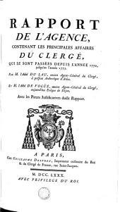 Rapport de l'Agence, contenant les principales affaires du clergé qui se sont passées depuis l'année 1770 jusqu'en l'année 1775