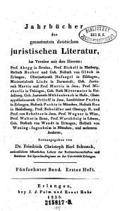 Jahrbücher der gesammten deutschen juristischen Literatur: Band 15