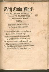 Ricii Cordi Noct[urn]ae Periclitationis Hessiaticorum Fontium Nimphis Sacrum Expiatorium Poema: Helii Eobani Hessi in Ricii Cordi Nocturna[m] periclitatione[m] iocus