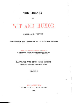 The Library of Wit and Humor  Prose and Poetry PDF