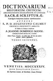 Dictionarium historicum, criticum, chronologicum, geographicum et literale Sacrae Scripturae ...