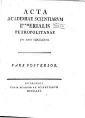 Acta Academiae Scientiarum Imperialis Petropolitanae: Partie2