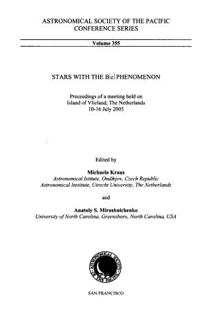 Stars with the B e  Phenomenon