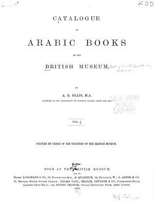 Catalogue of Arabic Books in the British Museum PDF
