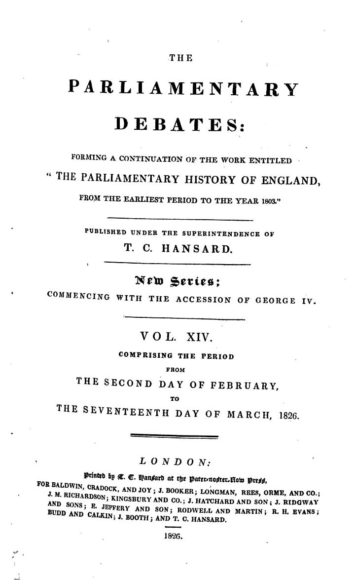 The Parliamentary Debates (official Report[s]) ...