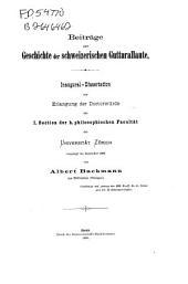 Beiträge zur Geschichte der schweizerischen Gutturallaute