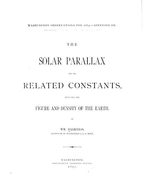 Download The Solar Parallax and Its Related Constants Book