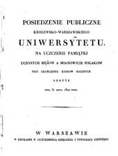 Posiedzenie publiczne Królewskiego Uniwersytetu: na pamiątkę założenia jego przy rozpoczęciu nowego kursu nauk odbyte ... roku. 1822, 31. Juli