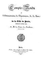 Compte-Rendu de l'Administration du Département de la Seine et de la ville de Paris, pendant l'année 1836