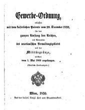 Gewerbeordnung, erlassen mit dem Patente vom 20. December 1859, (etc.)