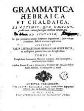 Grammaticae hebraicae et chaldaicae: Grammatica Hebraica