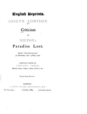 Criticism on Milton's Paradise Lost