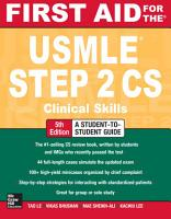 First Aid for the USMLE Step 2 CS  Fifth Edition PDF
