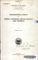 Preparedness Census of Mining Engineers  Metallurgists and Chemists PDF