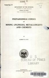Preparedness census of mining engineers, metallurgists and chemists