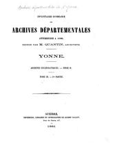 Inventaire-sommaire des Archives départementales antérieures à 1790, Yonne: archives ecclésiastiques, série H, Partie1