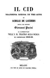 Il Cid: tragedia lirica in tre atti : da rappresentarsi nell'I. R. Teatro alla Scala il carnevale 1852 - 53