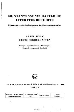 Montanwissenschaftliche Literaturberichte PDF