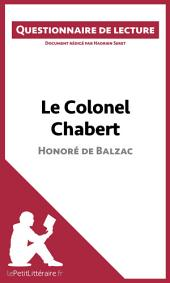 Le Colonel Chabert de Balzac: Questionnaire de lecture