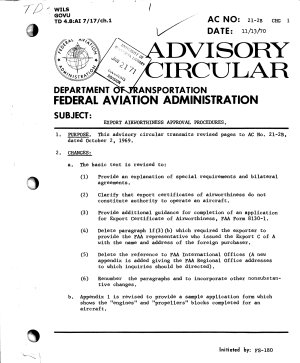 Export Airworthiness Approval Procedures