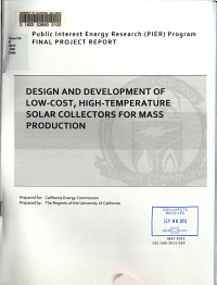 Design and Development of Low cost  High temperature Solar Collectors for Mass Production