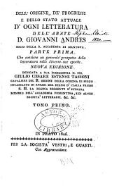 Dell ̕origine, de' progressi e dello stato attuale do̕gni letteratura ...