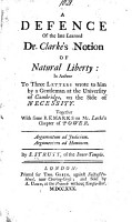 A Defence of     Dr  Clarke s Notion of Natural Liberty PDF